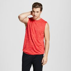 Men's Sleeveless Tech T-Shirt Red Heather S - C9 Champion, Scarlet Heather