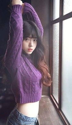 Recently, images of a certain beautiful young Korean girl has been appearing in many Korean online communities and SNS channels.knit purple too. somethings warms for today weathers model: Shin Se HuiKorean netizens are going crazy over this high scho Beautiful Japanese Girl, Beautiful Asian Girls, Japanese Beauty, Japanese Sexy, Cute Asian Girls, Cute Girls, Asian Ladies, Japonese Girl, Cute Young Girl