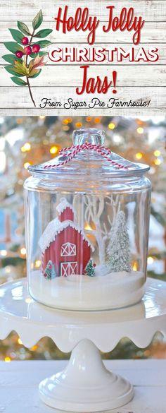 holly jolly Christmas jars Christmas Projects, Christmas Time, Christmas Jars, Christmas 2017, Holiday Crafts, Christmas Decorations, Rustic Christmas, Christmas Inspiration, Xmas Ideas