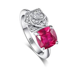 Jrose 3.5ct Cushion Cut Flower 925 Sterling Silver Created Red Ruby Women Elegant Engagement Ring (8) - Brought to you by Avarsha.com
