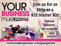Become a Makeup Eraser Brand Representative for as little as $25. Optional inventory kits are available at sign up. And your website is always free.  Www.makeuperaser.com/pamperme