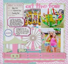 Kristen Swain, Cricut, Expression, scrapbook, scrapbooking, layouts, crafts, paper crafts, diecuts, single page, layout, summer, fair, county fair, Summer Vacation, vacation, Carousel, Robotz, girls, pink, bright colors