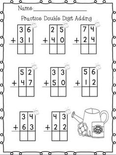 Double Digit Addition with Traceable Boxes, free on TPT
