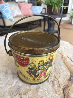 Antique RED SEAL Peanut Butter Advertising Tin Pail with Nursery Rhymes #NewtonTeaSpiceCoCanco