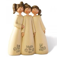 Any Big Sis, Middle Sis, or Lil' Sis will smile when she sees this adorable handpainted polyresin figurine.