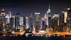 Ciudad, nueva york, nueva york, manhattan, noche fondo de pantalla - ForWallpaper.com