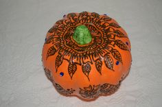 Fall pumpkin, fake pumpkin decorated with henna, freehand henna design on a fake pumpkin approx 6 in in diameter. by HennaByMJ on Etsy