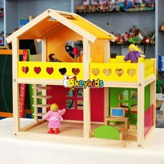 2016 wholesale kid wooden doll house family, cheap baby wooden doll house family, children wooden doll house family W06A157