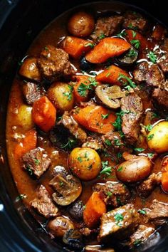 SLOW COOKER BEEF BOURGUIGNON From The Recipe Critic is number 10 on our list :: Click HERE for the RECIPE This Slow Cooker Beef Bourguignon from The Recipe Critic has crazy tender, melt in your mouth beef and hearty veggies slow cooked to perfection! It is seriously the best beef stew we have ever had! #dinner #beef #slowcooker #crockpot #easy #recipe #potatoes #mushrooms