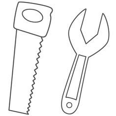 Saw and Wrench - Coloring Pages