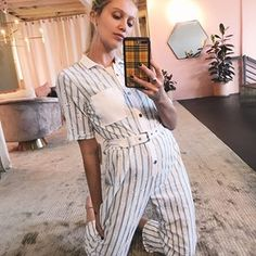 "941e61ee4768b For Love   Lemons on Instagram  ""Dressing room chronicles  cailinrusso wears  the Hermosa Striped Eyelet Jumpsuit 🕊"""