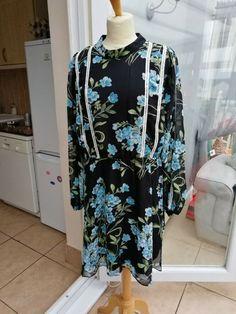 4b608d13b80 ladies NWT Simply Be size 18 black floral chiffon dress longsleeve  fashion   clothing