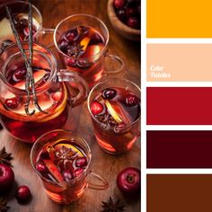 This warm color palette is based on a combination of burgundy, red, and yellow, while brown adds some contrast. It can be used successfully in decoration of bars and restaurants. Curtains in these colors will adorn a living room perfectly. These colors are suitable for a cocktail dress.