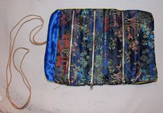 Vintage Satin Travel Jewelry Pouch Asian by ilovevintagestuff