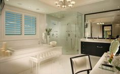 Beautiful Master Bathroom... white with dark cabinets