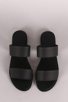 Double Band Slip On Flat Sandal