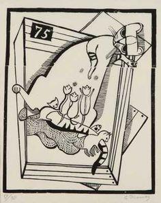 "Gerhard Marcks - ""Katzenmutter II"", Holzschnitt"