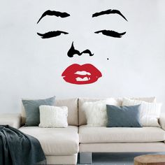 """Marilyn Monroe Face with Red Lips Decal Vinyl Art Sticker 22""""h X 26.5""""w. $24.99, via Etsy."""