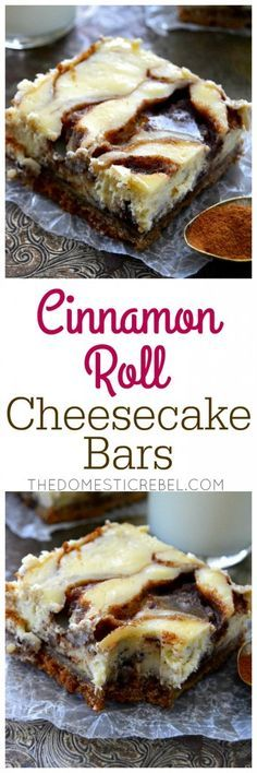 These Cinnamon Roll Cheesecake Bars definitely qualify as breakfast! This EASY r… These Cinnamon Roll Cheesecake Bars definitely qualify as breakfast! This EASY recipe tastes just like gooey cinnamon rolls but in a creamy cheesecake bar! Brownie Desserts, Mini Desserts, Just Desserts, Delicious Desserts, Dessert Recipes, Yummy Food, Bar Recipes, Plated Desserts, Recipies