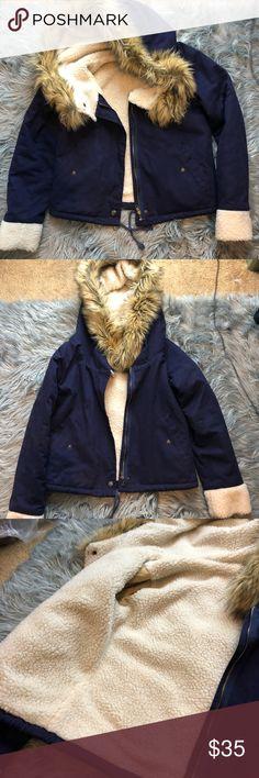 Shein Royal Blue Fuzzy Jacket Great condition just not my style ! Fashion Nova Jackets & Coats