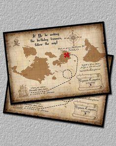 Treasure map invitation, Perfect for a pirate birthday!