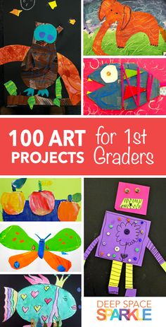 100 Art Projects for First Grade Students Project ideas and lesson plans include art collages painting mixed media clay and many School Art Projects, Projects For Kids, Art School, Crafts For Kids, Project Ideas, High School, Primary School Art, Diy Crafts, Middle School