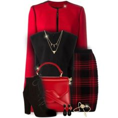 Red & Black Office Outfit