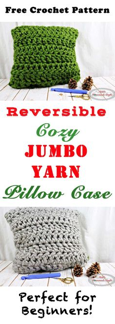 Reversible Cozy Jumbo Yarn Pillow Case Free Crochet Pattern by Nicki's Homemade Crafts #crochet #pillow #case #free #pattern #jumbo #yarn #reversible #cozy #easy #fast