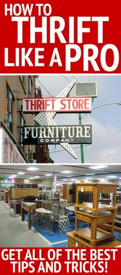 How to thrift like a pro! Great ideas for garage sales, Goodwill, Craigslist and more.