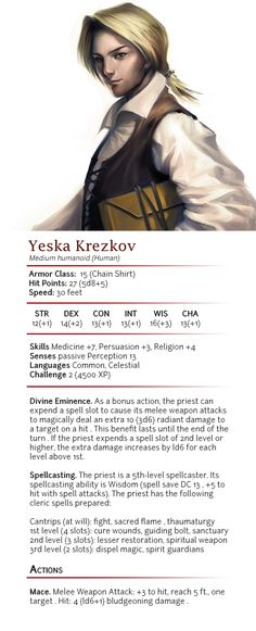 f Cleric AC 15 Yeska Krezkov