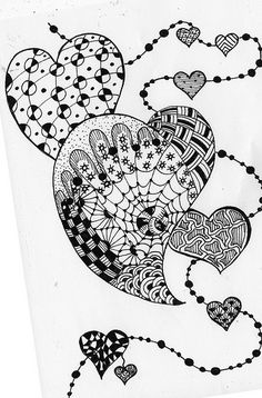 hearts- zentangle Abstract Doodle Coloring pages colouring adult detailed advanced printable Kleuren voor volwassenen
