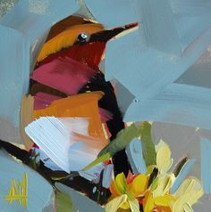 Varied Thrush no. 6 6 x 6 x 1/8 inch (15 x 15 cm) Oil paint on archival gessobord panel. Signed. Unframed.
