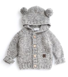 -Tocoto Vintage Knitted Bear Jacket in Beige Cotton, 20 % Other fibres -True to size Baby Boy Knitting Patterns Free, Baby Sweater Knitting Pattern, Baby Clothes Patterns, Crochet Baby Clothes, Baby Boy Sweater, Knit Baby Sweaters, Tocoto Vintage, Bear Jacket, Designer Kids Clothes
