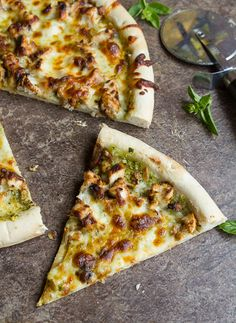 Chicken Pesto Pizza - Pizza topped off with chicken and a homemade pesto sauce.