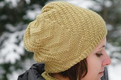chevron side of Calm Frenzy Hat pattern, available on ravelry