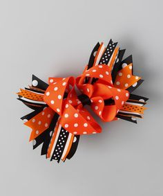 Another great find on #zulily! Orange Polka Dot Carnival Bow Clip by Bubbly Bows #zulilyfinds