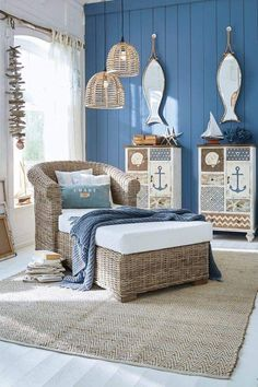 Beach Cottage Style, Beach Cottage Decor, Coastal Decor, Diy Home Decor, Coastal Living Rooms, Living Room Decor, Bedroom Decor, Estilo Navy, Caravan Decor
