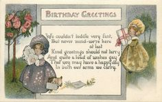 BIRTHDAY GREETINGS  children in bonnets carry letters & parcel