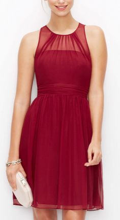 Silk Georgette Sheer Yoke Dress in Dark Ruby