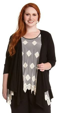 PLUS SIZE 3/4 SLEEVE BLACK DRAPE JACKET Your favorite Karen Kane drape jacket is back in black. The perfect jacket with endless possibilities, layer it over a dress or wear with all your casual looks. This is a closet staple that's a must have for your wardrobe. #Plus_Size #Fashion  #Black #Drape_Jacket #Karen_Kane