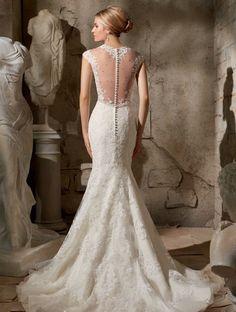 robe-mariée-dos-dentelle-tulle-transparent-boutonné-coupe-sirène-traîne-évasée-dentelle.jpg (750×992)