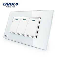 Aliexpress.com : Buy Manufacturer Livolo Luxury White Crystal Glass Panel, 3 Gang, 2 Way Push Button Home Wall Switch,VL C3K3S 81 from Reliable switch stove suppliers on LIVOLO