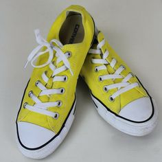 3c2dc28f2d78 Converse All Star Shoes Mens 8 Womens 10 Yellow Canvas Low Cut Lace Up   Converse