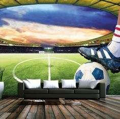 3D Soccer Field Custom Photo Wallpaper Sports Stadium Wall Mural Part 60