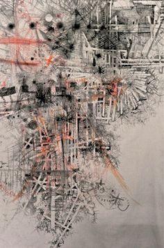 "Pier • Sarah Baldwin • Drawing on cotton duckcloth 104 x 68"" (2011) ""My drawings…"