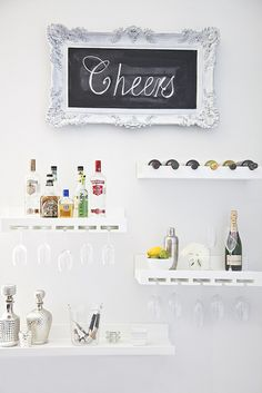 Wet bar on the wall. I l-o-v-e this idea, especially for small spaces.