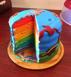 Dinosaur rainbow cake