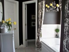 White, black, and yellow bathroom