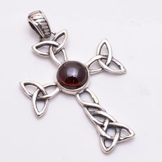 925 Sterling Silver Pendant, Natural Garnet Gemstone Handcrafted Jewelry CP128 #Handmade #Fashion