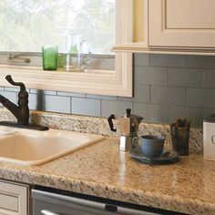 Looks like brushed stainless steel, is actually just stick on tile that's both water and heat resistant!